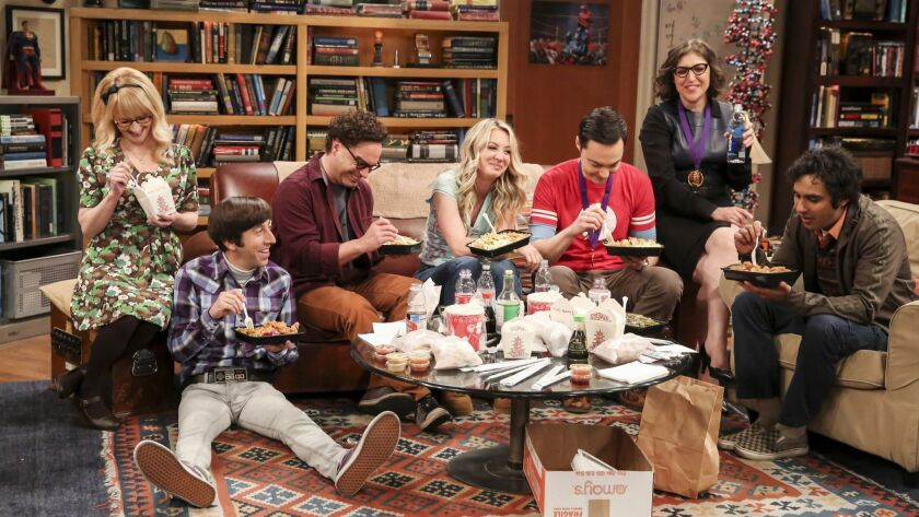 This photo provided by CBS shows Melissa Rauch, from left, Simon Helberg, Johnny Galecki, Kaley Cuoc