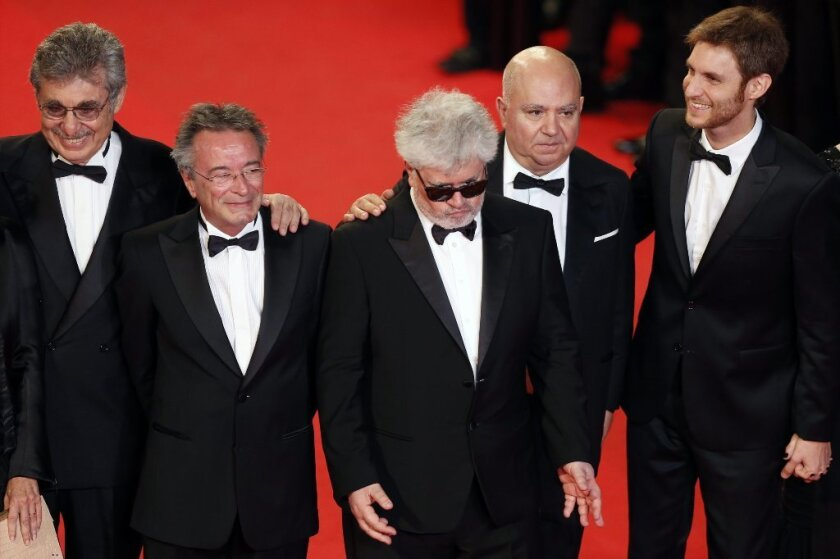 (L-R) Argentine producer Hugo Sigman, actor Oscar Martinez, Spanish producer Pedro Almodovar, Spanish producer Agustin Almodovar and Argentine director Damian Szifron at the Cannes premiere of 'Wild Tales'