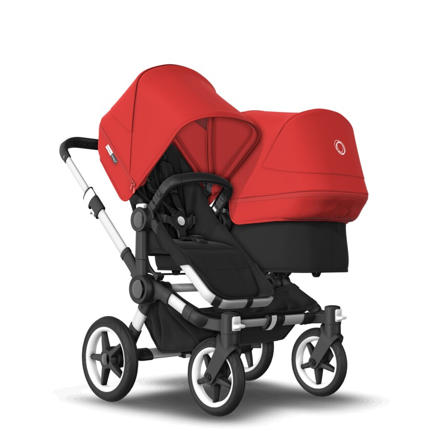 This photo shows the Donkey 3 Duo stroller by Bugaboo. The stroller has a convertible model that expands sideways with a bassinet option and its price tag is $1,759 to start. (Bugaboo via AP)