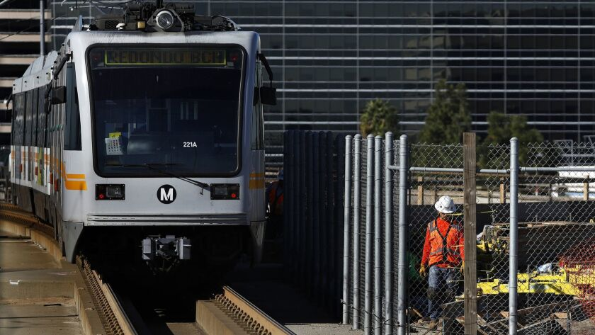 LOS ANGELES-CA-JANUARY 22, 2018: A Green Line train leaves the Aviation/LAX Station in Los Angeles o