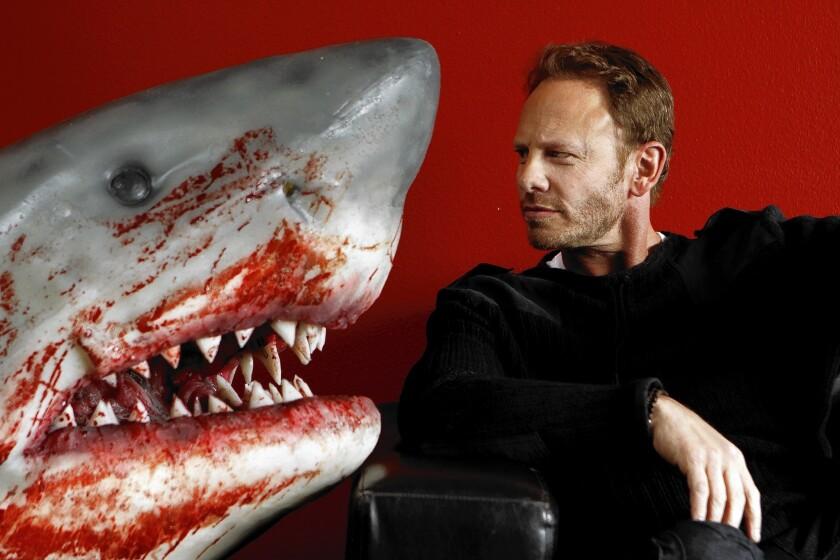"Ian Ziering, star of ""Sharknado 2,"" at the Asylum studio in Burbank."