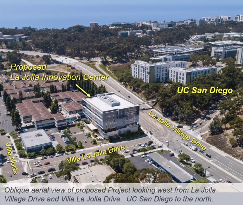 A rendering of the UCSD Innovation Center, proposed for the intersection of La Jolla Village Drive and Villa La Jolla.