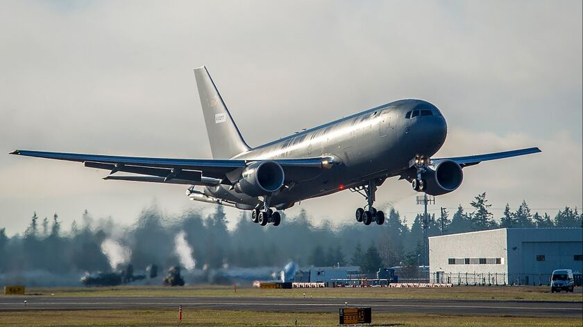 The first Boeing KC-46 tanker for the U.S. Air Force takes off from Paine Field in Everett, Wash.
