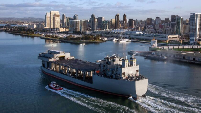 The USNS Lewis B. Puller sails through San Diego Bay. The ship was built at General Dynamics-NASSCO.