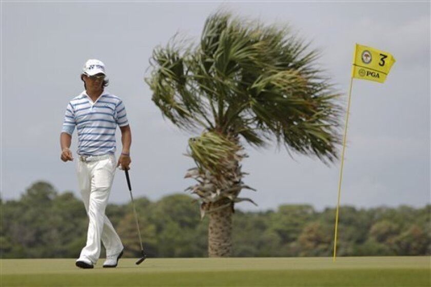Ryo Ishikawa of Japan looks over the second green during the second round of the PGA Championship golf tournament on the Ocean Course of the Kiawah Island Golf Resort in Kiawah Island, S.C., Friday, Aug. 10, 2012. (AP Photo/Lynne Sladky)