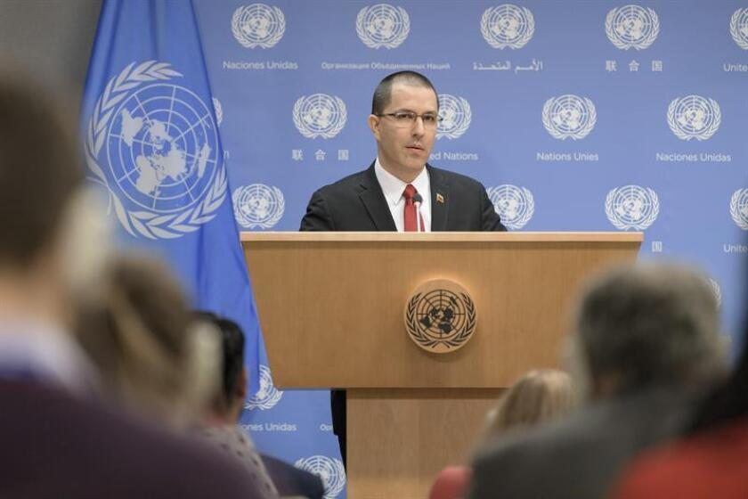 A handout picture released by the United Nations on 16 January 2019, shows the Venezuelan foreign minister Jorge Arreaza speaking at a press conference at the UN headquarters in New York, USA, 16 January 2019. EPA-EFE/UN/Manuel Elias HANDOUT EDITORIAL USE ONLY NO SALES
