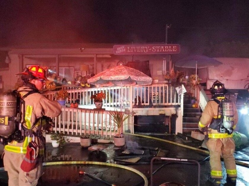 Firefighters worked to put out a fire in Fallbrook on Sunday night.