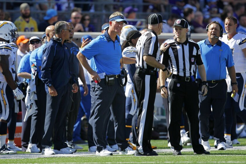 Chargers coach Mike McCoy looks on during a 31-14 loss to the Vikings.