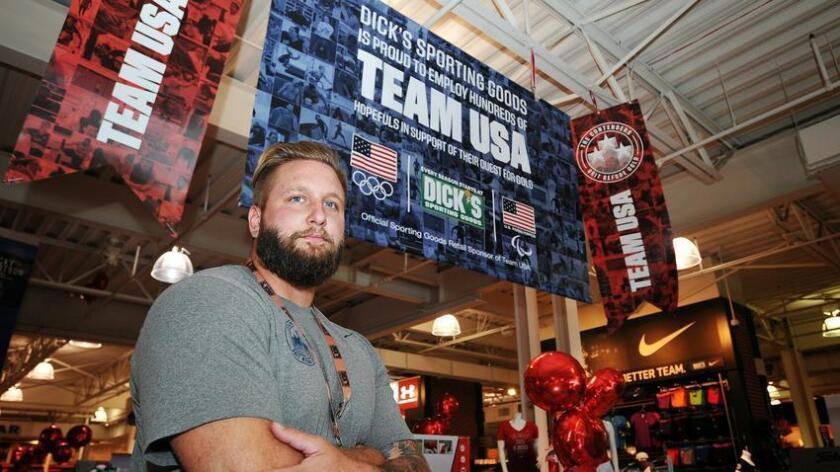 U.S. Olympic discus thrower Jared Schuurmans at Dick'S Sporting Goods in El Cajon. Dick'S Sporting Goods is providing Team USA hopefuls with employment opportunities to help them focus on training for the Olympic Games.