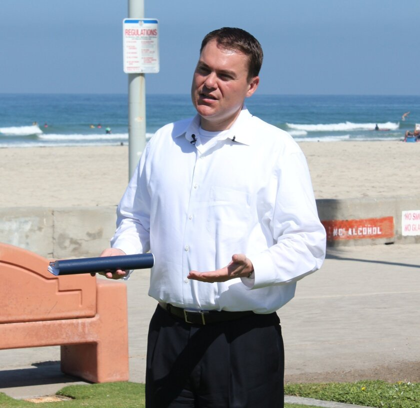 Mayoral candidate Carl DeMaio spoke about his plan for building a 'blue economy' during a press conference at la Jolla Shores Aug. 27. PAT SHERMAN PHOTOS