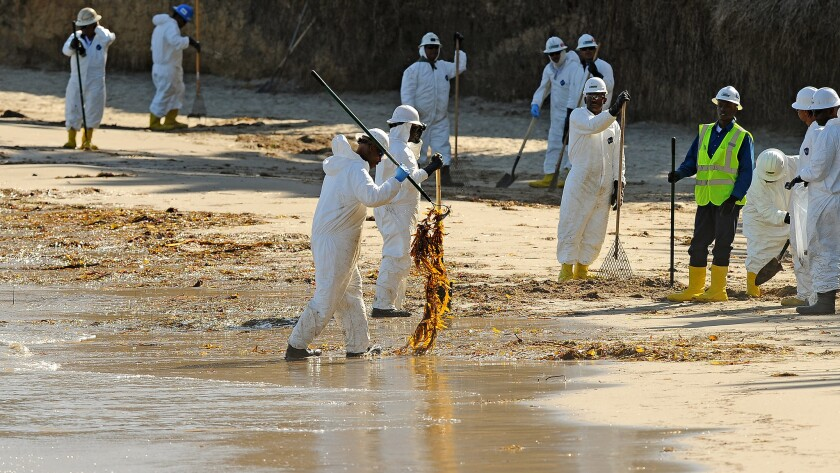 Oil spill cleanup at Refugio State Beach.