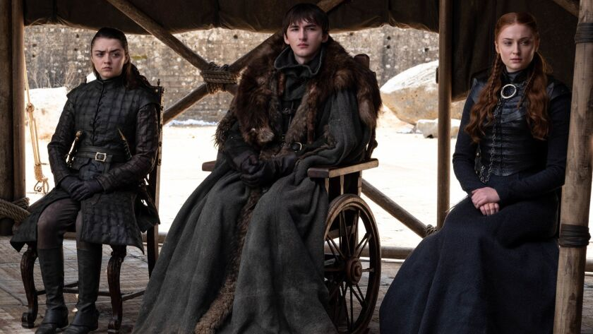 This image released by HBO shows from left to right Maisie Williams, Isaac Hempstead Wright and Soph