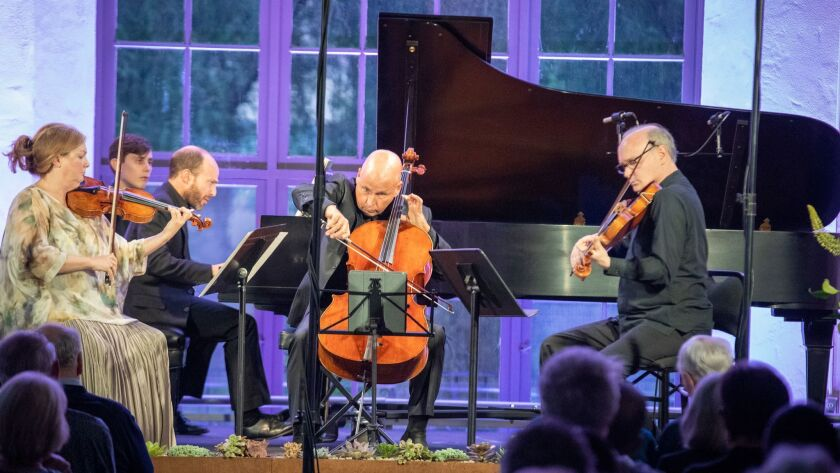 PASADENA, CALIF. -- MONDAY, JULY 8, 2019: From left: Margaret Batjer, violin, Orion Weiss, piano, Ro