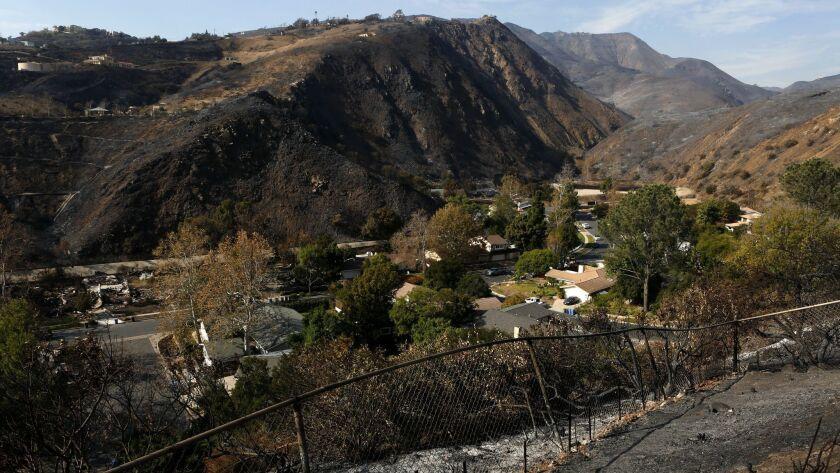 "MALIBU, CA-NOVEMBER 16, 2018: The hills surrounding the ""Malibu West"" neighborhood, near Trancas Can"