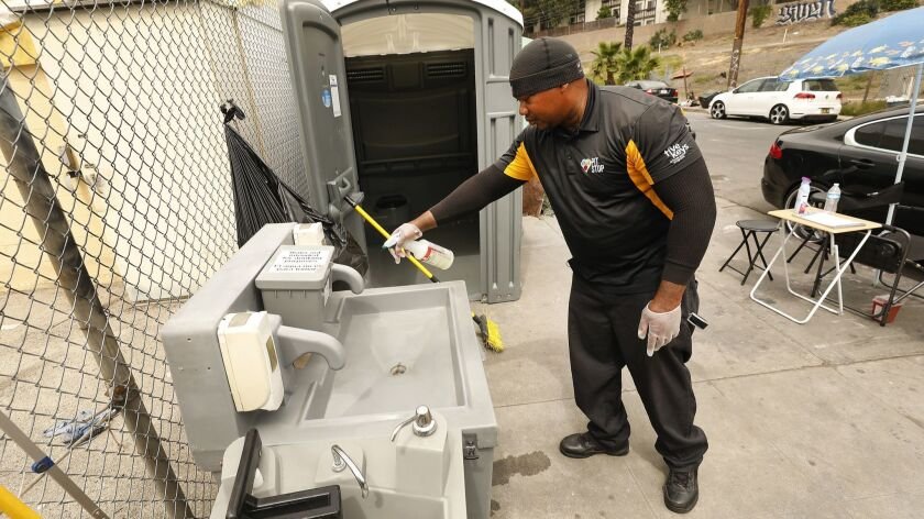 LOS ANGELES, CA - JUNE 07, 2019 - Deandre Fradiue works as the ambassador/attendant for Pit Stop th