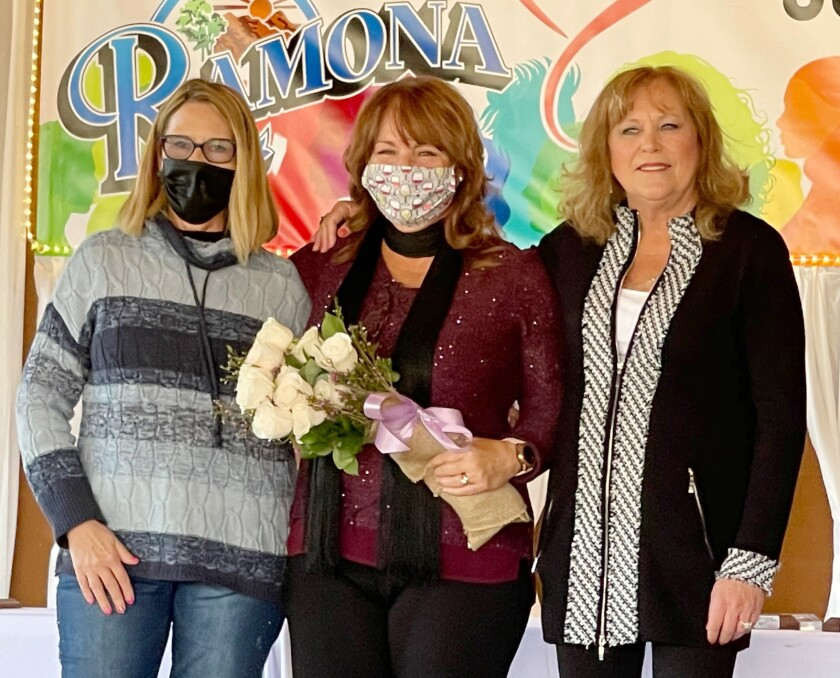 Ramona Chamber of Commerce Community Awards event hosts are, from left, Cindy Galloway, Karen Domnitz and Carol Fowler.