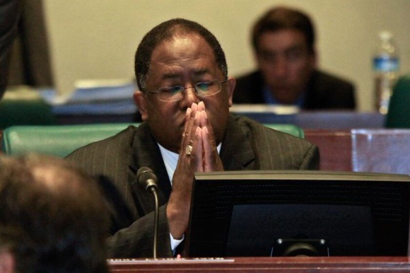 Los Angeles County Supervisor Mark Ridley-Thomas in deep thought in May 2011 as the board members discuss his initial proposal to add a Leimert Park Village station to the planned Crenshaw/LAX rail line that will run through South L.A. and Inglewood. Two years later, he persuaded the MTA board to add the station to the project.