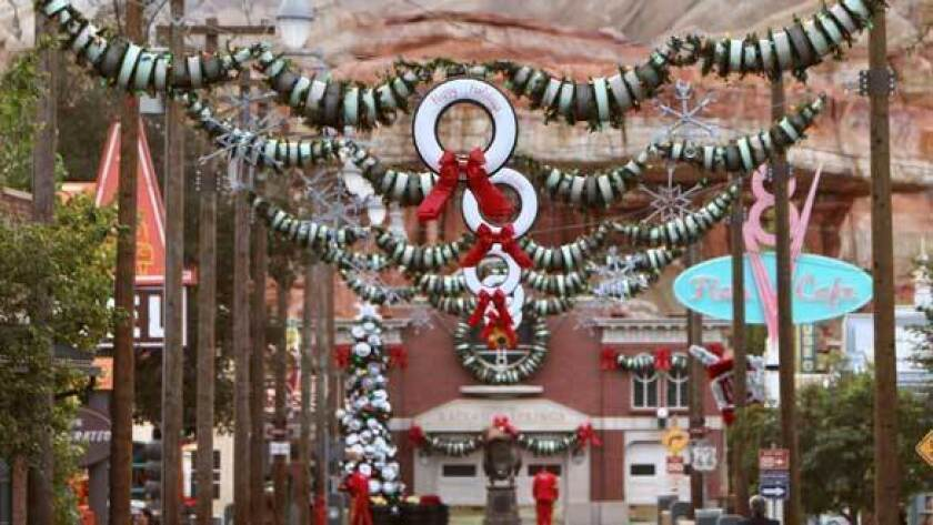 Disney Cars Christmas Decorations.Cars Land Brings Route 66 Christmas To Disney California