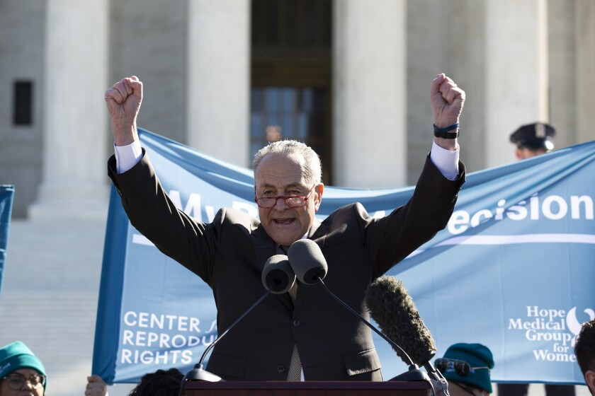 Senate Minority Leader Chuck Schumer, D-N.Y. speaks during abortion rights rally outside of the U.S. Supreme Court in Washington, Wednesday, March 4, 2020. The Supreme Court is taking up the first major abortion case of the Trump era Wednesday, an election-year look at a Louisiana dispute that could reveal how willing the more conservative court is to roll back abortion rights. (AP Photo/Jose Luis Magana)