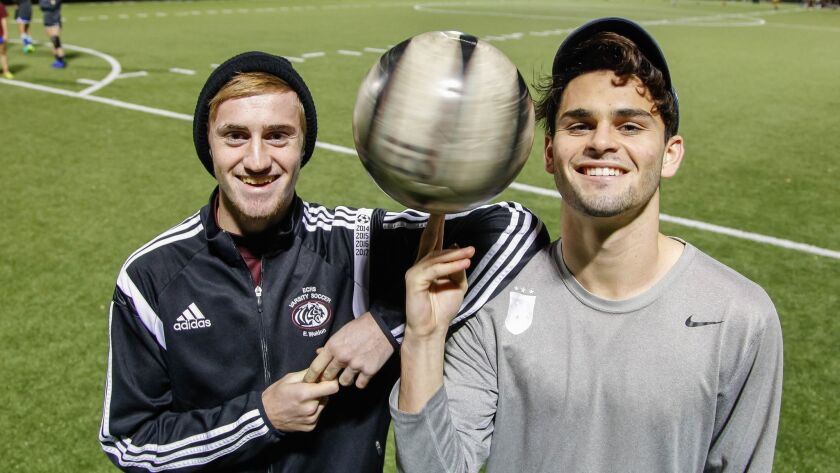 Senior captains Eric Weldon (left) and Anthony Rufo have integrated tactics from their club teams into the game plans of Escondido Charter's varsity.