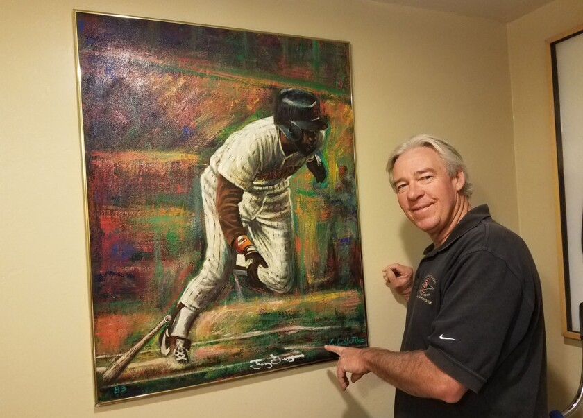 Solana Beach resident Craig Nelson acquired this oil painting of Tony Gwynn in a garage-sale trade 35 years ago.