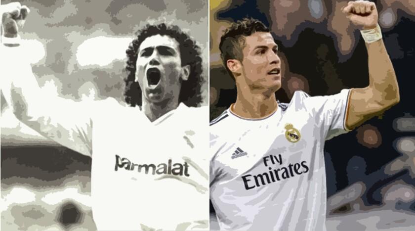 Hugo Sánchez y Cristiano Ronaldo, pasado y presente goleador del Real Madrid.