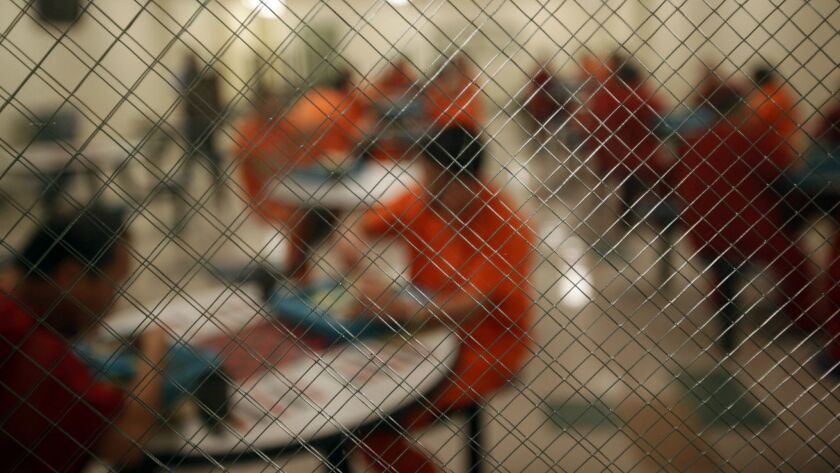 Detainees eat lunch at the ICE detention center in Bakersfield, Calif. on April 23, 2015.