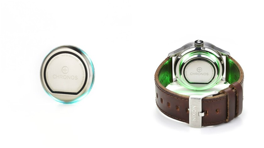 The Chronos shown by itself, left, and attached to the back of a Nixon wristwatch, right, was created to add smartwatch technology functions -- including fitness tracking and notifications -- to 80% of the wristwatches sold today.