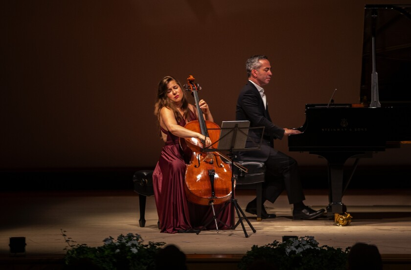 World-renowned cellist Alisa Weilerstein performs with SummerFest music director Inon Barnatan at the grand finale of the La Jolla Music Society's gala in 2019. Both had been scheduled to perform at the 2020 SummerFest before the society announced it was postponing the event due to the coronavirus pandemic.