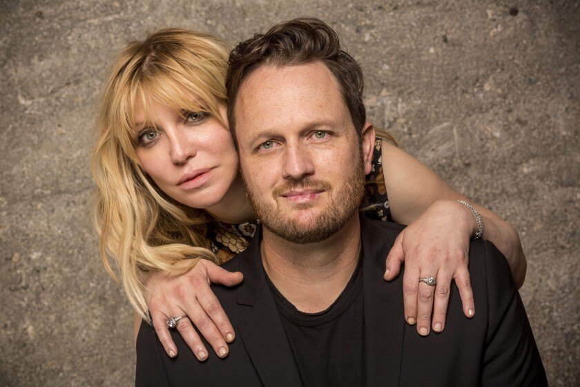 Musician Courtney Love and playwright/composer Todd Almond photographed at the Kirk Douglas Theatre, September 17, 2015.