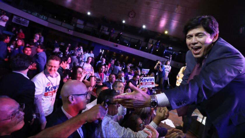 Calif. Sen. Kevin de Leon greets supporters on election night at The Exchange in downtown Los Angeles.