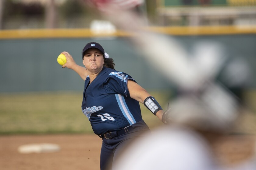 Marina's Emily Rush pitches during a Edison during a Surf League game against Edison on Thursday, Ap