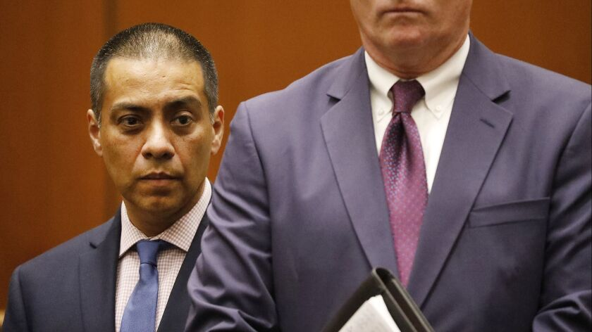 LAUSD school board member Ref Rodriguez appears in court to plead guilty to a felony count of conspiracy on July 23.