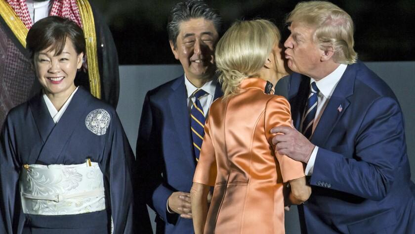 Shinzo Abe, Akie Abe, Brigitte Macron, Donald Trump