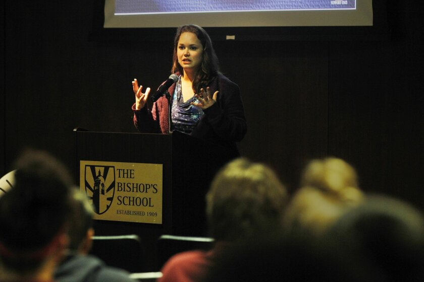 Tiffany Mester, a survivor of sex trafficking, speaks to students at The Bishop's School in La Jolla on Friday. / photo by Eduardo Contreras * U-T San Diego