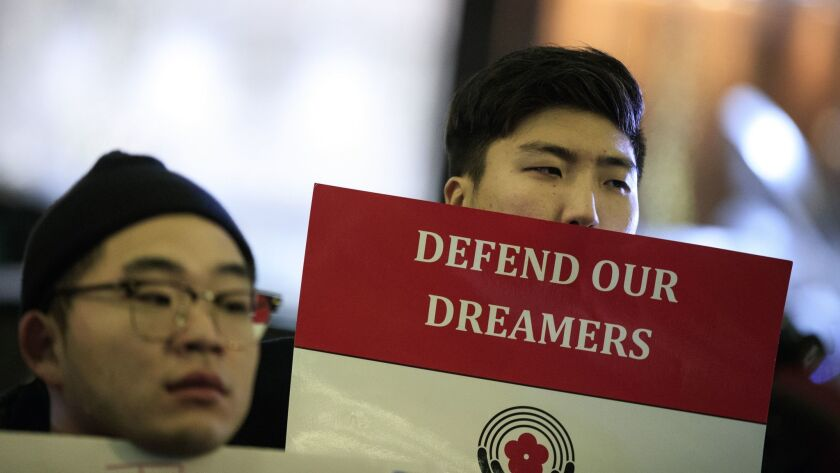 "Activists rally on behalf of ""Dreamers"" on Jan. 10 outside the New York office of Sen. Charles E. Schumer (D-N.Y.)."