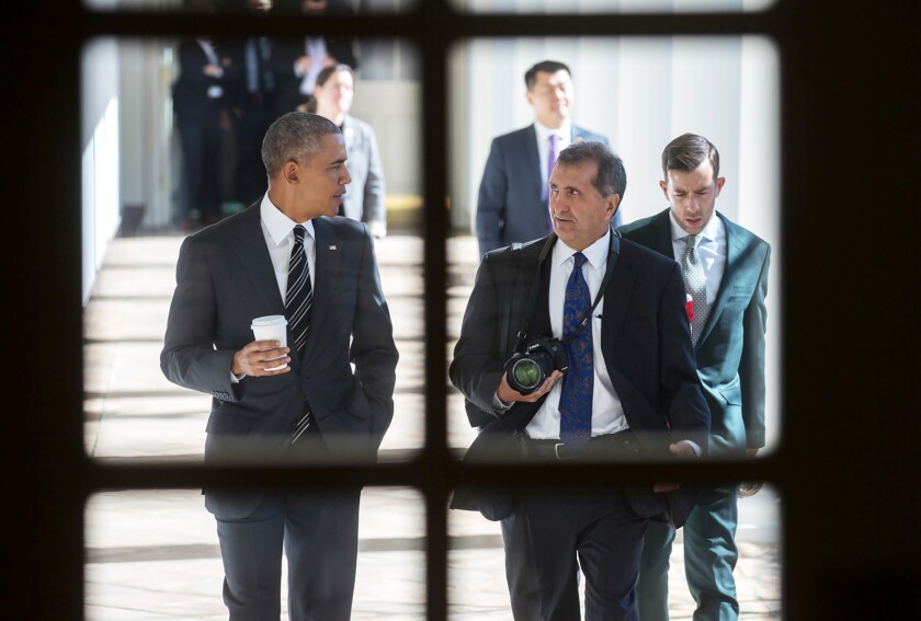"President Obama with chief White House photographer Pete Souza on Feb. 18, 2016, from the documentary ""The Way I See It."""