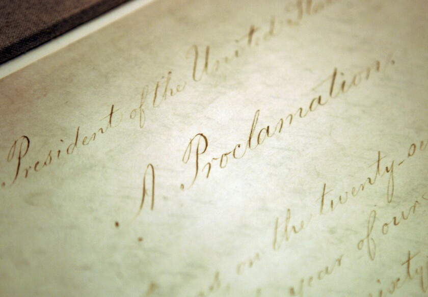 The original Emancipation Proclamation is displayed at the National Archives in Washington in 2005.