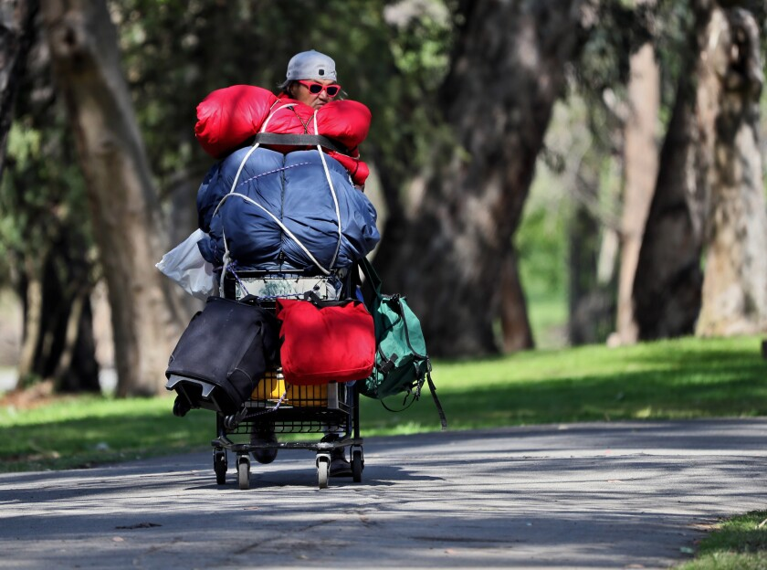 A homeless person pushes a cart full of his belongings at Huntington Central Park in March 2021.