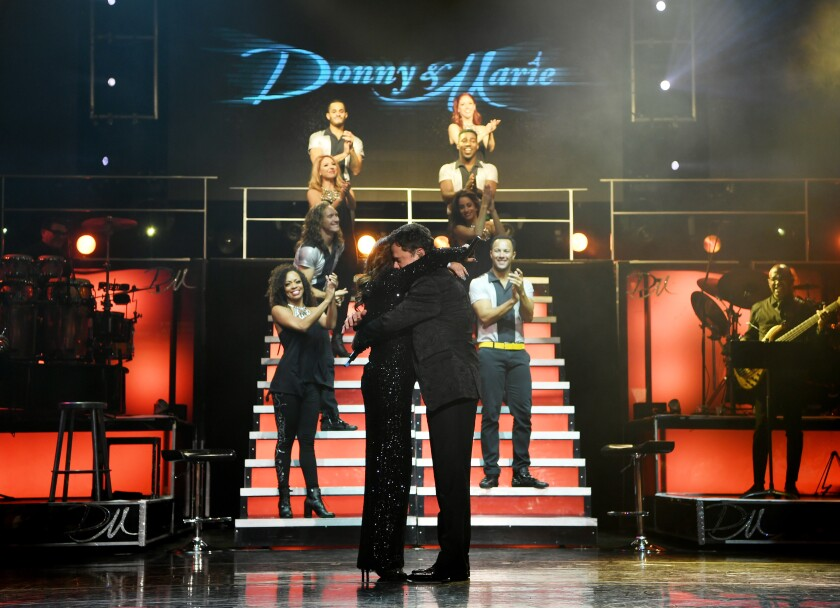 Singers Donny and Marie Osmond had an emotional farewell performance Nov. 16 after 11 years sharing the bill at the Flamingo Las Vegas.