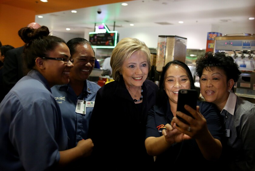 Hillary Clinton with service workers in Las Vegas