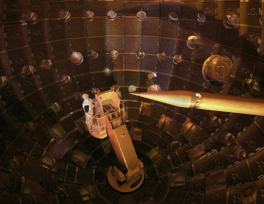 The interior of the target chamber inside the National Ignition Facility.