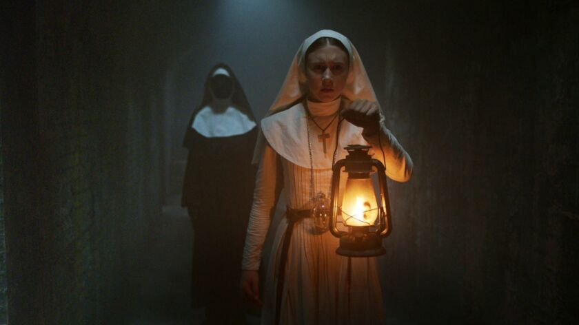 "(Front) TAISSA FARMIGA as Sister Irene in New Line Cinema's horror film ""THE NUN,"" a Warner Bros. Pi"