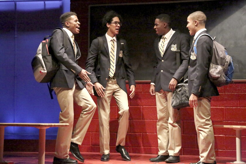 """Jeremy Pope, left, Caleb Eberhardt, Grantham Coleman and Nicholas L. Ashe in """"Choir Boy"""" at the Geffen Playhouse."""