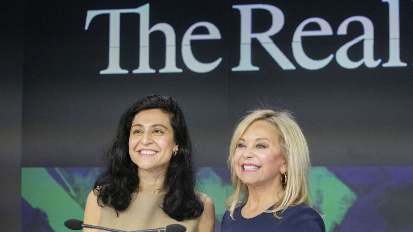 Julie Wainwright, right, CEO of The RealReal, and Rati Levesque, Chief Operating Officer, attend the