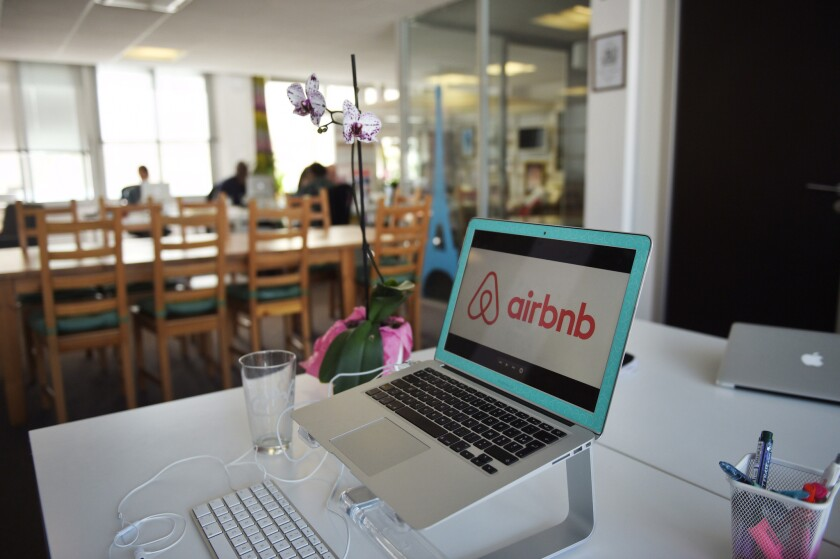 The logo of online lodging service Airbnb.