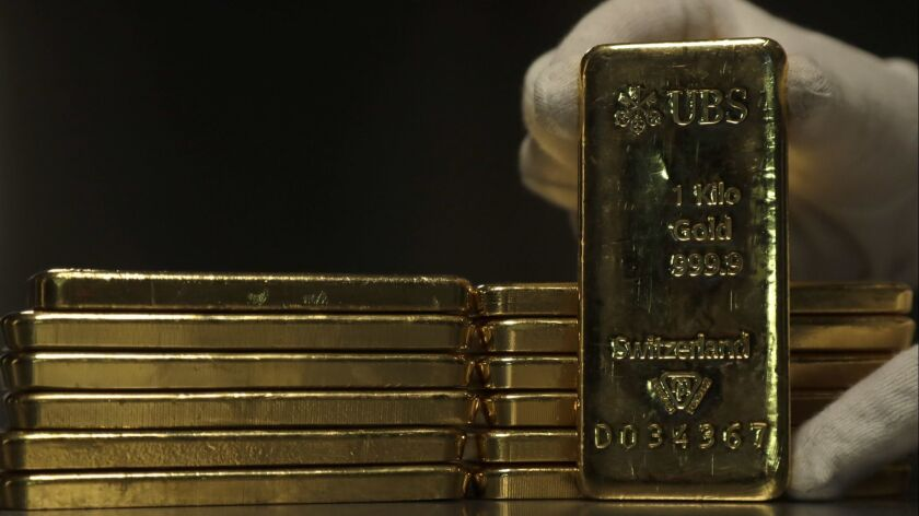 Gold bars at the ProAurum gold house in Munich, Germany. In December, gold recorded its largest one-month jump since January 2017.