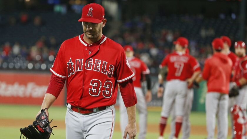 Los Angeles Angels starting pitcher Matt Harvey (33) is pulled from the game against the Texas Range