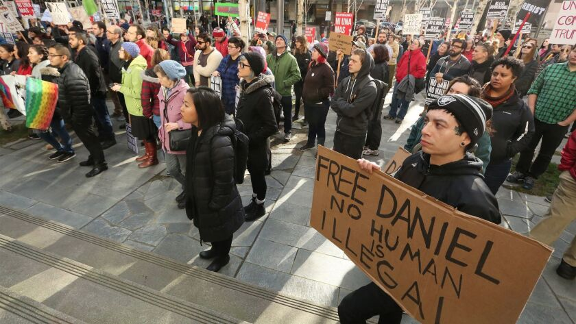 Supporters of freeing detained Dreamer Daniel Ramirez Medina rally on Feb. 17 in front of the federal courthouse in Seattle, Wash.