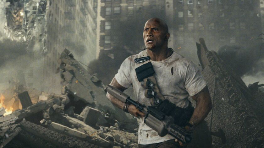 "DWAYNE JOHNSON as Davis Okoye in New Line Cinema's action adventure ""RAMPAGE,"" a Warner Bros. Pictur"